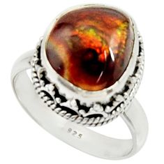 7.13cts natural mexican fire agate 925 silver solitaire ring size 8.5 r22034
