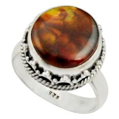 7.11cts natural mexican fire agate 925 silver solitaire ring size 7.5 r22039