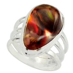 8.03cts natural mexican fire agate 925 silver solitaire ring size 6.5 r22062
