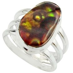 6.46cts natural mexican fire agate 925 silver solitaire ring size 6.5 r22066