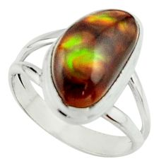 5.53cts natural mexican fire agate 925 silver solitaire ring size 7.5 r22067