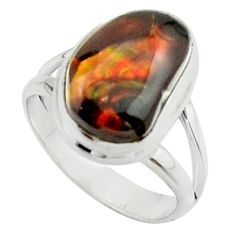 6.31cts natural mexican fire agate 925 silver solitaire ring size 6.5 r22080