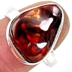 10.24cts natural mexican fire agate 925 silver solitaire ring size 9.5 r50080