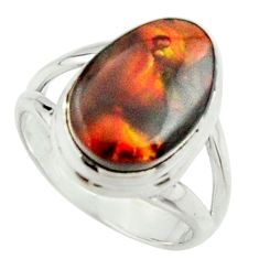 5.36cts natural mexican fire agate 925 silver solitaire ring size 6 r22068