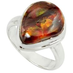 5.79cts natural mexican fire agate 925 silver solitaire ring size 6 r22073