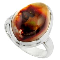 6.58cts natural mexican fire agate 925 silver solitaire ring size 6 r22076