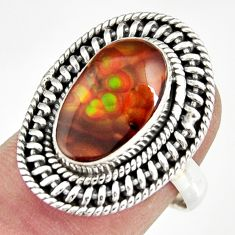 5.52cts natural mexican fire agate 925 silver solitaire ring size 7 r19188
