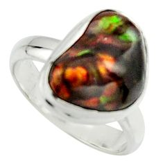 6.04cts natural mexican fire agate 925 silver solitaire ring size 7 r22063