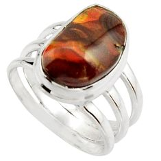 6.32cts natural mexican fire agate 925 silver solitaire ring size 7 r22276