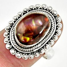 5.75cts natural mexican fire agate 925 silver solitaire ring size 8 r19181
