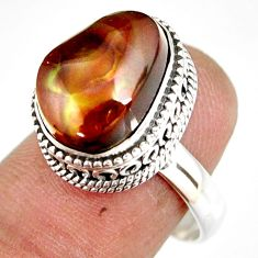 13.28cts natural mexican fire agate 925 silver solitaire ring size 8 r19289
