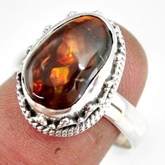 6.08cts natural mexican fire agate 925 silver solitaire ring size 8 r19294