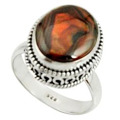 6.89cts natural mexican fire agate 925 silver solitaire ring size 8 r22021