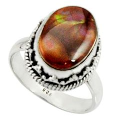 6.08cts natural mexican fire agate 925 silver solitaire ring size 8 r22040