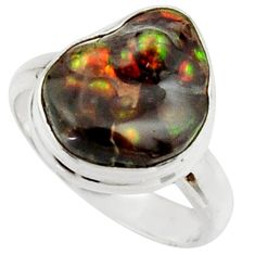 6.31cts natural mexican fire agate 925 silver solitaire ring size 8 r22277