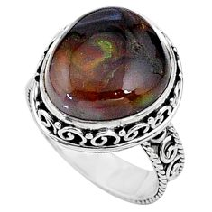 11.89cts natural mexican fire agate 925 silver solitaire ring size 8 t16042