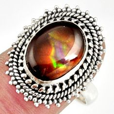 5.28cts natural mexican fire agate 925 silver solitaire ring size 9 r19192