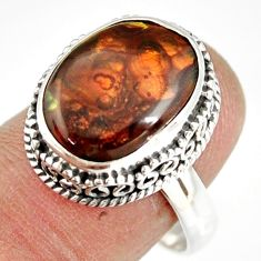 7.32cts natural mexican fire agate 925 silver solitaire ring size 9 r19286