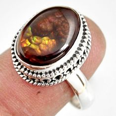6.79cts natural mexican fire agate 925 silver solitaire ring size 9 r19288