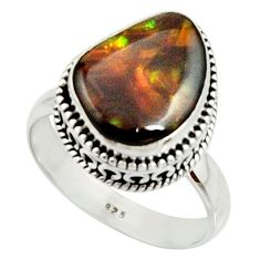 6.85cts natural mexican fire agate 925 silver solitaire ring size 9 r22032