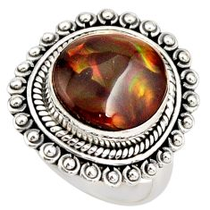 6.74cts natural mexican fire agate fancy 925 silver solitaire ring size 7 r21439