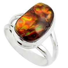6.02cts natural mexican fire agate fancy 925 silver solitaire ring size 7 r22280