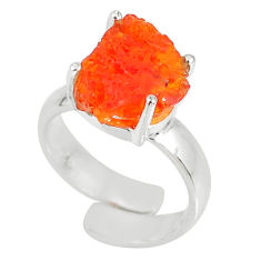 5.38cts natural mexican fire opal 925 silver adjustable ring size 4.5 r60126