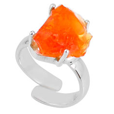 7.12cts natural mexican fire opal 925 silver adjustable ring size 4.5 r60139