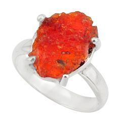 5.84cts natural mexican fire opal 925 silver solitaire ring size 6.5 d47495