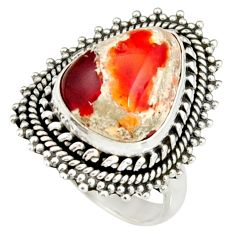 7.04cts natural mexican fire opal 925 silver solitaire ring size 7.5 r19202