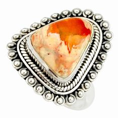 6.84cts natural mexican fire opal 925 silver solitaire ring size 8.5 r19219