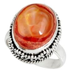 7.07cts natural mexican fire opal 925 silver solitaire ring size 6.5 r19264