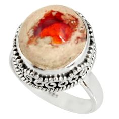 8.41cts natural mexican fire opal 925 silver solitaire ring size 8.5 r19270
