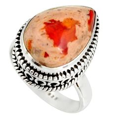 7.83cts natural mexican fire opal 925 silver solitaire ring size 6.5 r19278