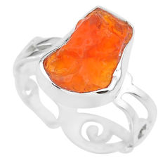 5.86cts natural mexican fire opal 925 silver solitaire ring size 6.5 r91645