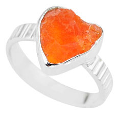 4.79cts natural mexican fire opal 925 silver solitaire ring size 7.5 r91675