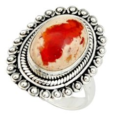 6.02cts natural mexican fire opal 925 silver solitaire ring size 7 r19216
