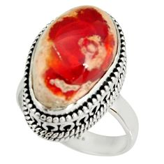 8.42cts natural mexican fire opal 925 silver solitaire ring size 7 r19269