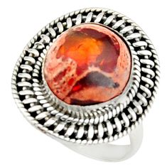 6.48cts natural mexican fire opal 925 silver solitaire ring size 8 r22274
