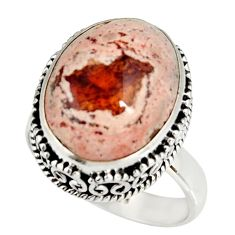 13.46cts natural mexican fire opal 925 silver solitaire ring size 9 r19273