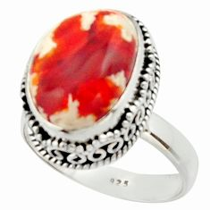 7.56cts natural mexican fire opal 925 silver solitaire ring size 9 r22272