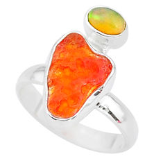7.25cts natural mexican fire opal ethiopian opal 925 silver ring size 7 t10022