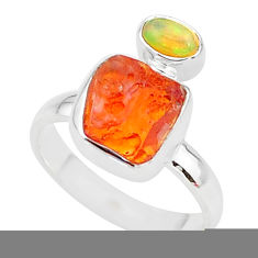 5.92cts natural mexican fire opal ethiopian opal 925 silver ring size 7 t10026