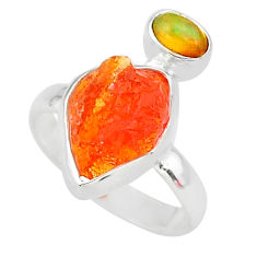 6.15cts natural mexican fire opal ethiopian opal 925 silver ring size 7 t10030