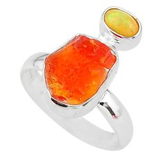 5.92cts natural mexican fire opal ethiopian opal 925 silver ring size 7 t10036