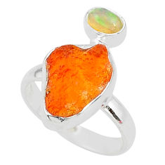 6.48cts natural mexican fire opal ethiopian opal 925 silver ring size 7 t10037