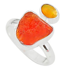 6.43cts natural mexican fire opal ethiopian opal 925 silver ring size 7 t10041