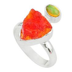 7.22cts natural mexican fire opal ethiopian opal 925 silver ring size 7 t10045