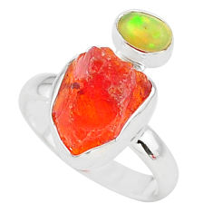 6.61cts natural mexican fire opal ethiopian opal 925 silver ring size 7 t10046