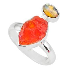 6.49cts natural mexican fire opal ethiopian opal 925 silver ring size 7 t10047